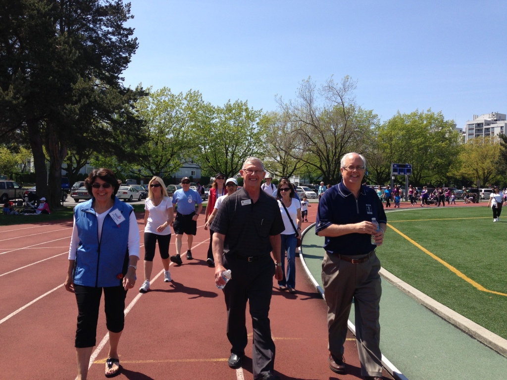 "Councillor Bill McNulty participates in Richmond's ""Move for Health Day"" with Mayor Malcolm Brodie."