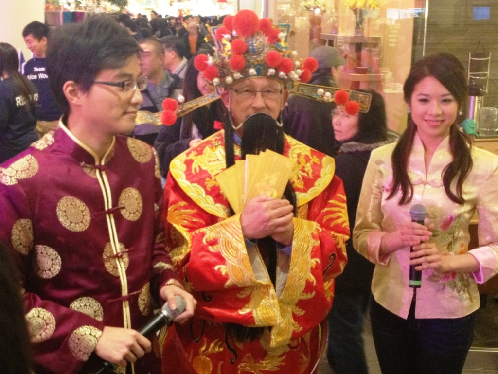 Gong Hay Fat Choy! Councillor Bill McNulty is the God of Fortune at Aberdeen Centre tonight to welcome the Year of the Snake!