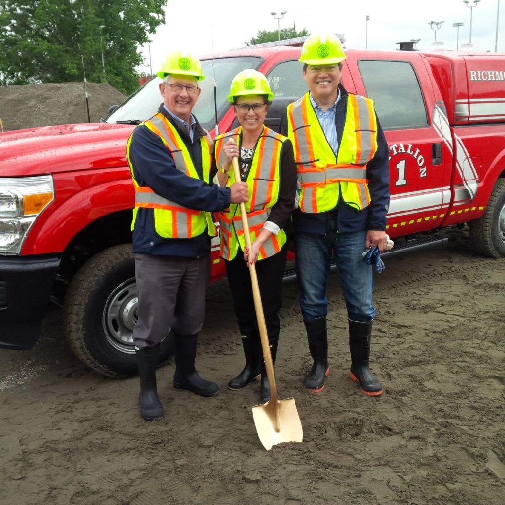 Ceremonial ground breaking of the new fire hall.